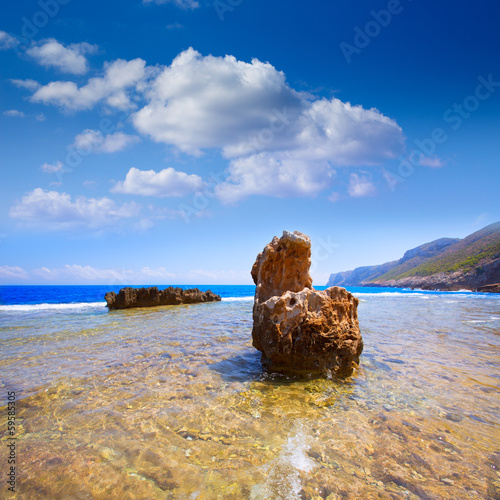 Denia Alicante Las rotas rocky beach in Spain