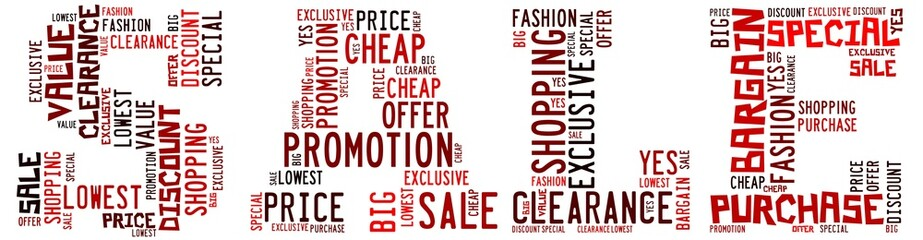 Sale info - text arrangement and word collage.
