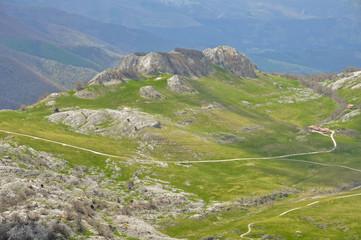 Campas de Urbía desde el monte Aizkorri, País Vasco (España)