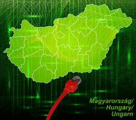 Ungarn mit Grenzen in dem neuen Netzwerkdesign