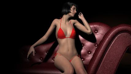 beautiful girl posing in red bikini on a sofa