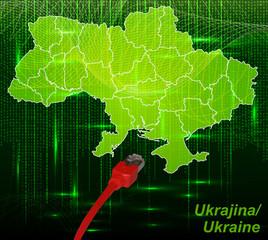 Ukraine mit Grenzen in dem neuen Netzwerkdesign