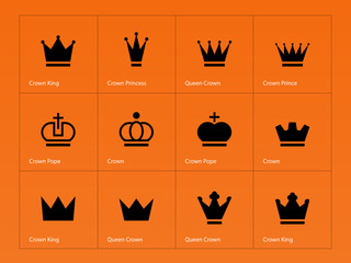 Crown icons on orange background.