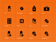 Pills icons on orange background.