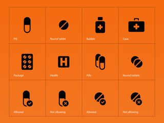 Pills icons on orange background.