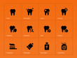 Teeth icons on orange background.