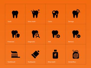 Teeth icons on orange background.