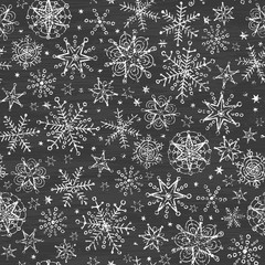 vector chalkboard black and white snowflakes seamless pattern