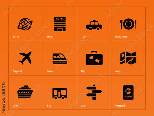 Travel icons on orange background.