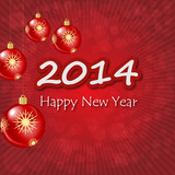 Happy New Year 2014 baubles background
