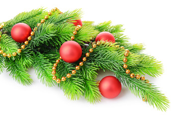 Christmas balls on fir tree, isolated on white