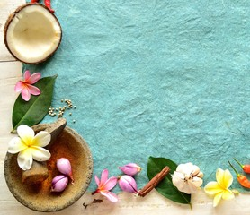 Tropical food,spice with plumeria