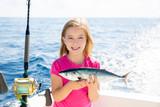 Blond kid girl fishing tuna bonito sarda fish happy catch poster