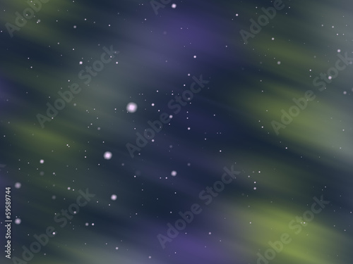 Aurora glow, shining starry and snowy background