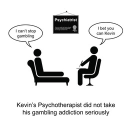 Kevin and his gambling addiction cartoon