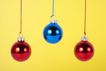 Close up shot of hanging Christmas ornaments.
