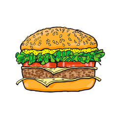 Hamburger. Color Sketch. Vector illustration.