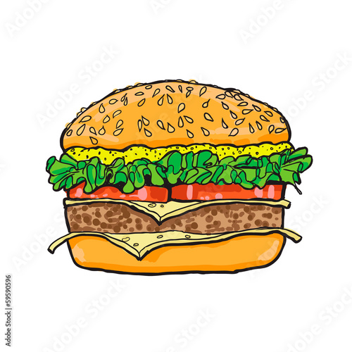 Hamburger. Color Sketch. Vector illustration.