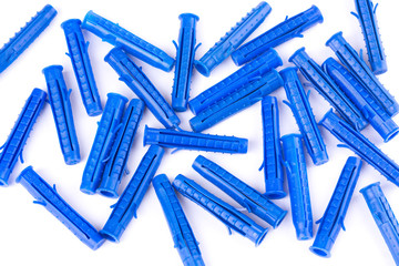 Plastic dowels isolated on white