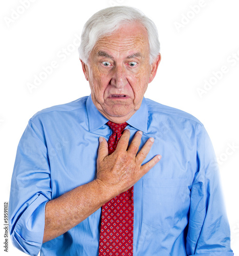 Elderly executive, old employee having sudden chest, heart pain