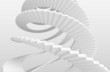 White spiral stairs on gray background. 3d illustration