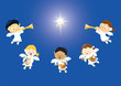 Angels singing and playing instruments