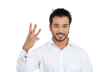 Business man giving a three fingers sign gesture with hand