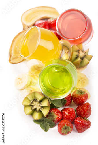 banana jelly, kiwi and strawberry on a white background