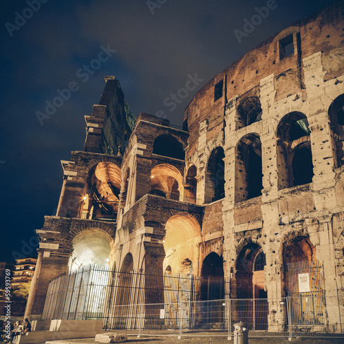 Vintage coaster - Italy Illuminated Colosseum at night