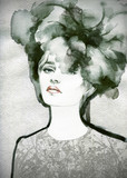 Fototapety Beautiful woman.  Hand painted fashion illustration