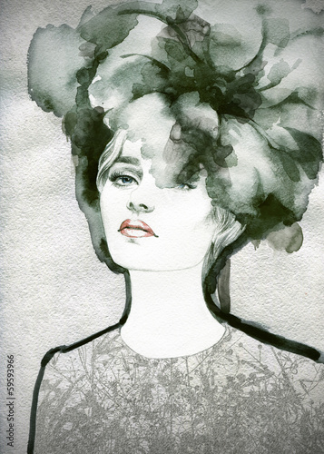 Beautiful woman.  Hand painted fashion illustration - 59593966