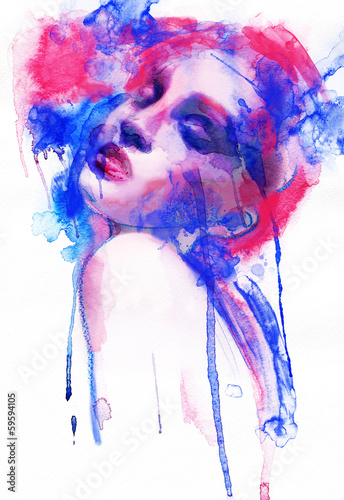 Beautiful woman.  Hand painted fashion illustration - 59594105