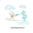 entrepreneur watering from a hose Dollar