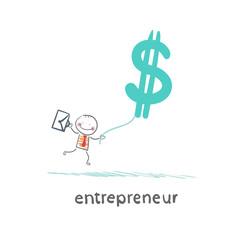 entrepreneur flying with dollar