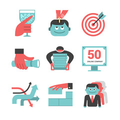 Content management flat icons set. Part 1