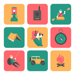 Flat icons of travel and adventure