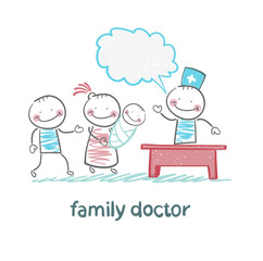 family doctor treats the mother, father and child