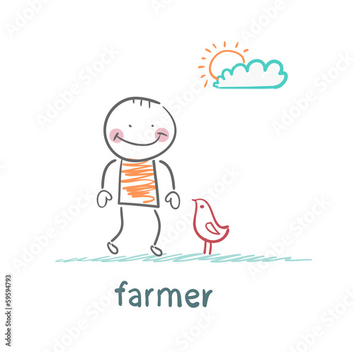 farmer next to the chicken