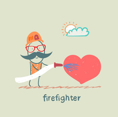 firefighter extinguishes heart