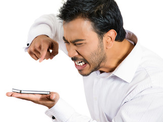 Upset, angry, man man yelling on a cell phone