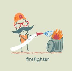 firefighter puts out the trash