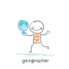 geographer is in the hands of the globe