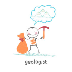 Geologist holding a hammer and a bag and thinks about mountains