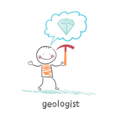 Geologist holding a hammer and thinks about gem