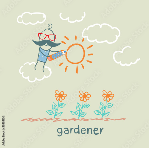 gardener draws sun flower