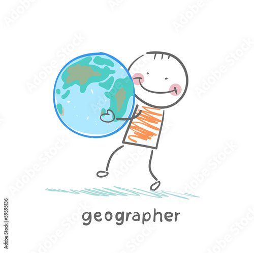 geographer keeps the planet in the hands of
