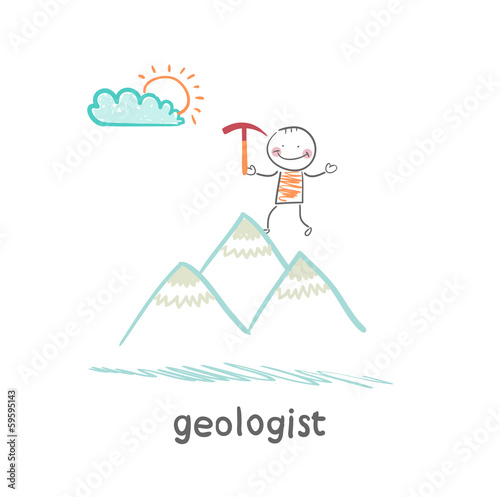 geologist stands on the hill