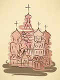 stylized watercolor sketch of traditional russian church