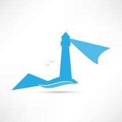 lighthouse landscape blue icon