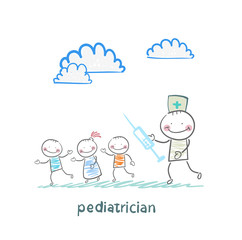 pediatrician with a syringe runs for children